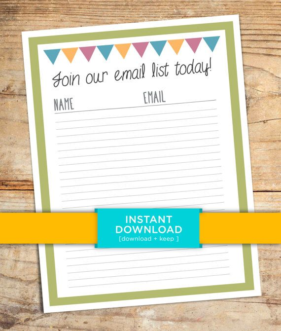 Email List Sign Up Sheet Printable - Marketing documents, email marketing, downloadable, pdf, instant download, email list, business emails    TREESAWCRAFTS.ETSY.COM