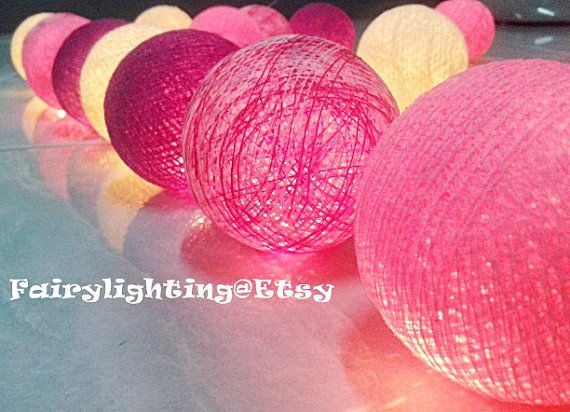 20 Mix Pink Tone Cotton Ball String Lights by fairylighting, $11.99