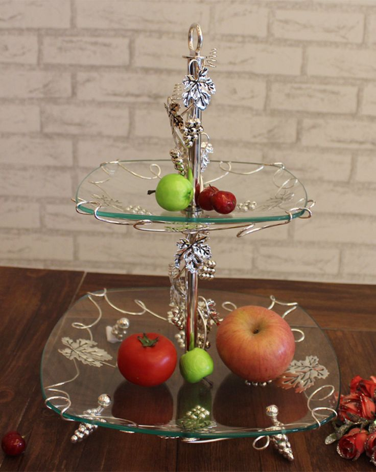 2-layer Glass Fruit Plate Pastry/ Cake Plate/ Desserts/ Fruit Stand Display, Food Holder Free Shipping #Affiliate