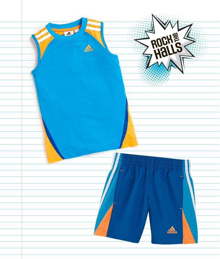 A great outfit for gym class this school year. Comfortable Adidas shorts and t-shirt