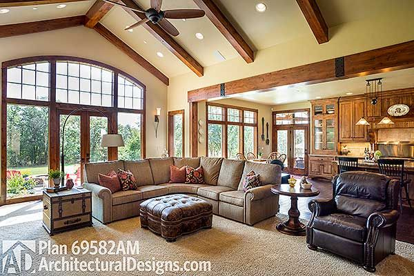 I like the open plan between kitchen and living room, plus all the windows
