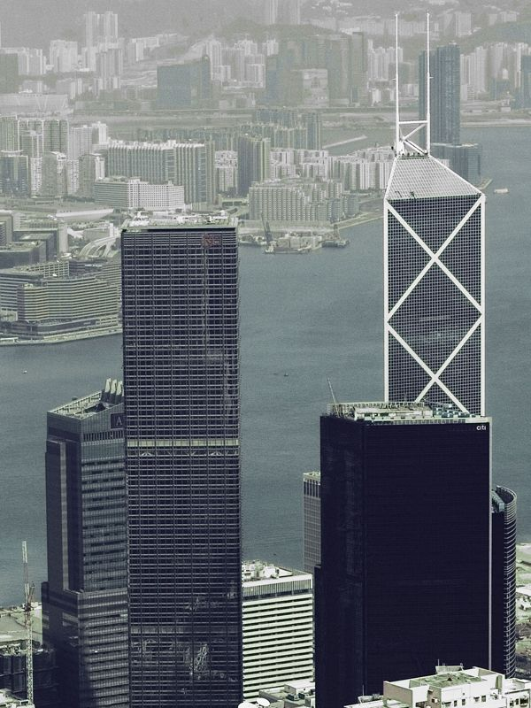 A view of Hong Kong harbour from Victoria Peak. There are 7,650 skyscrapers in Hong Kong, the most of any city in the world, creating a famous urban skyline which has an impact unlike any other. Image by Mark Hooper
