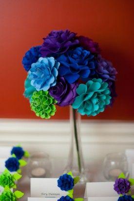 Paper Flower CenterpieceBlue Flowers, Dreams, Paper Flowers Centerpieces, Diy Paper Flower Centerpieces, Bouquets Ideas, Blue Green Flowers, Colours Flower, Bridesmaid Bouquets, Crafts