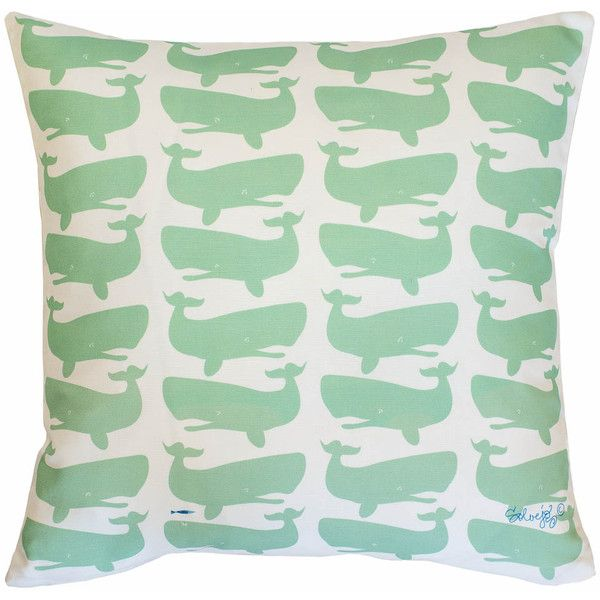 """Fun Whales"", green on white ($75) ❤ liked on Polyvore featuring home, home decor, throw pillows, decor, pillow, sea home decor, whale throw pillow and ocean throw pillows"