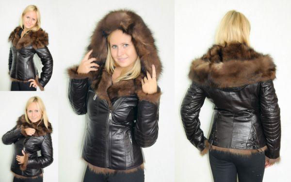 Зимние женские кожаные куртки с мехом