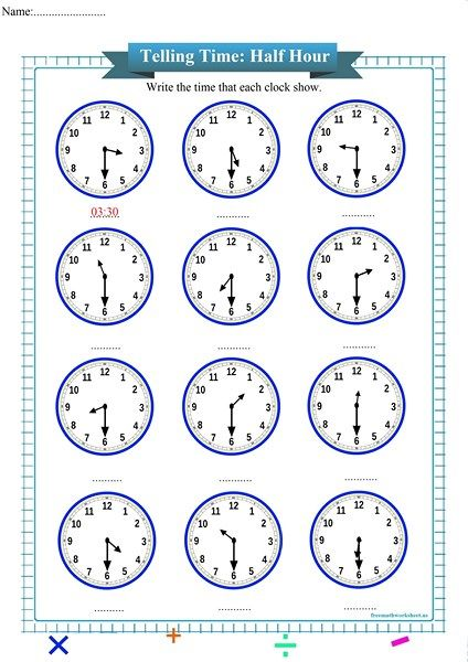 Half Hour Free Math Worksheets Time Worksheets Telling Time Worksheets Free Math Worksheets Free printable math worksheets telling