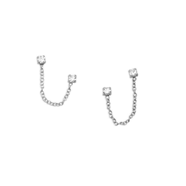 Zilveren Oorbellen dubbel Kristal met kettinkje