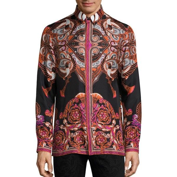 Versace Collection Bold Ethnic Graphic Silk Shirt ($730) ❤ liked on Polyvore featuring men's fashion, men's clothing, men's shirts, apparel & accessories, black, mens graphic button down shirts, mens silk shirt, mens long sleeve button down shirts, mens longsleeve shirts and mens button shirts