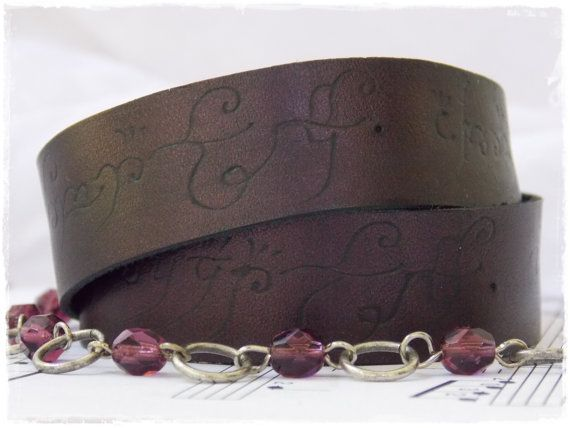 Plum Leather Wrap Bracelet Inspired By The by ChrisOsCreations, €20.00