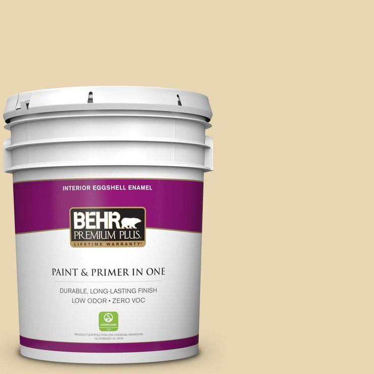 BEHR Premium Plus 5-gal. #ppf-13 Sunning Deck Zero VOC Eggshell Enamel Interior Paint, Ppf-13 Sunning Deck Eggshell