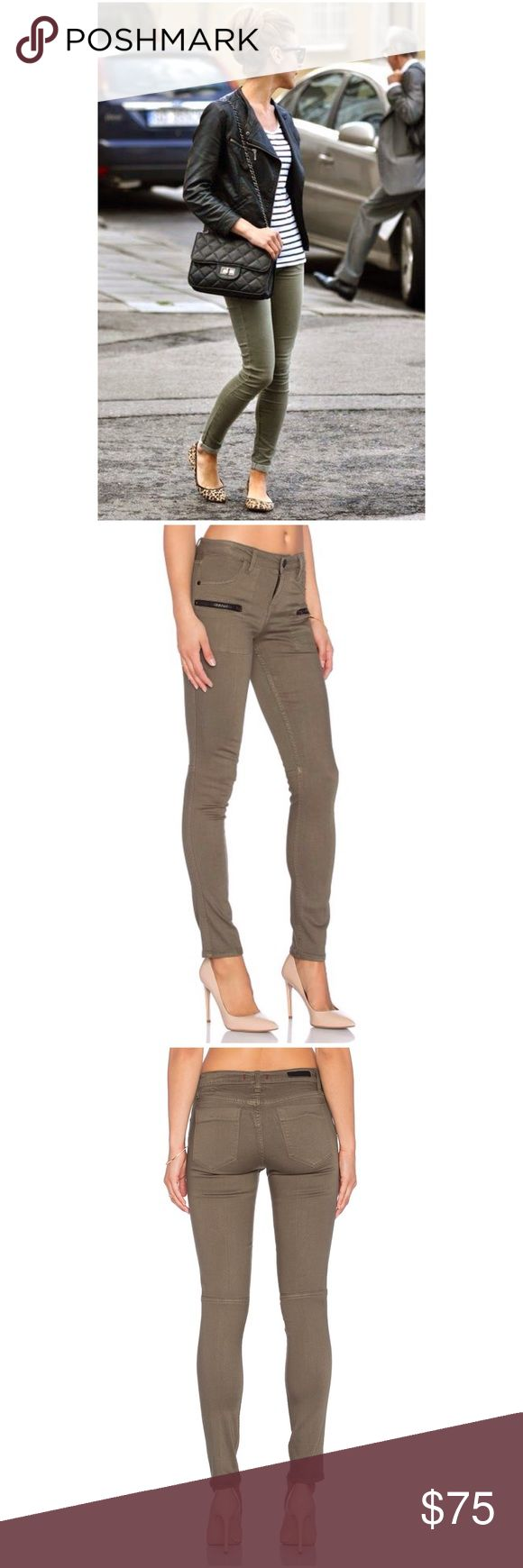 """🆕Sanctuary Ace Skinny Green Jeans Wash - Fatigue. 55% promodal , 43% cotton , 2% lycra. Decorative front zippers. 14"""" in the knee narrows to 10"""" at the leg opening.  9.5"""" rise, 29"""" inseam, 11"""" leg opening, based on a size 27. Color: green.       🚫No trades.  🚩Reasonable offers welcom. Sanctuary Jeans Skinny"""