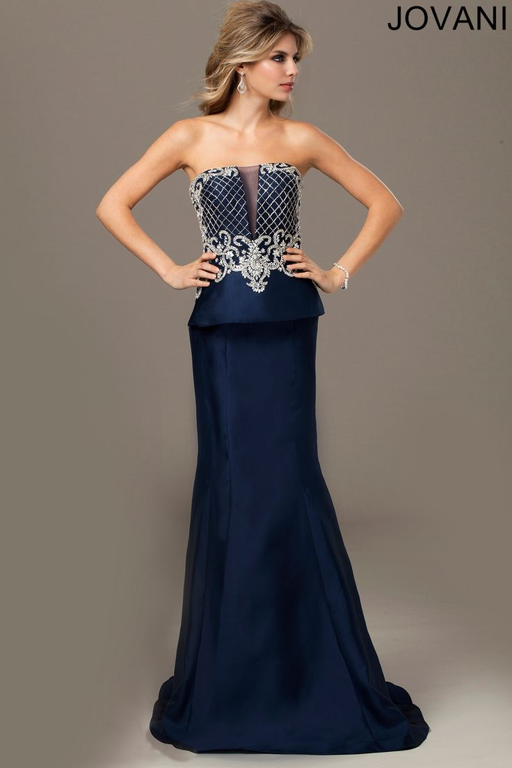 8 best jaimie hilfiger bridesmaid dresses images on pinterest jovani evenings 24571 gorgeous silver strapless trumpet dress features a beaded bodice and peplum skirt ombrellifo Images
