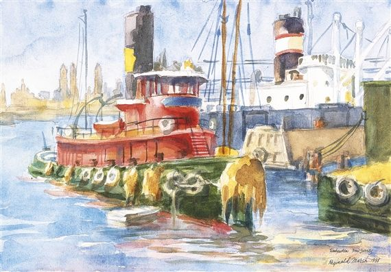 Artwork by Reginald Marsh, Red Tug, Weehawken, New Jersey, Made of Watercolor on paper