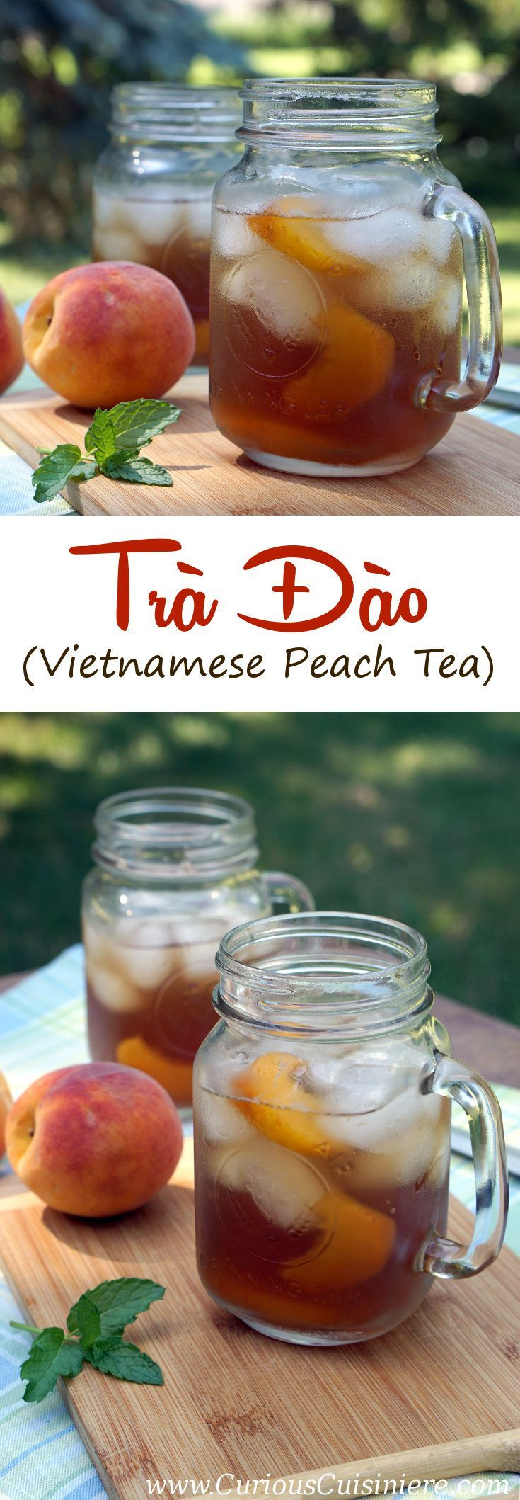 This lightly sweet Vietnamese Peach Tea is made with real peaches for a perfectly refreshing summer drink! #SundaySupper   www.CuriousCuisiniere.com