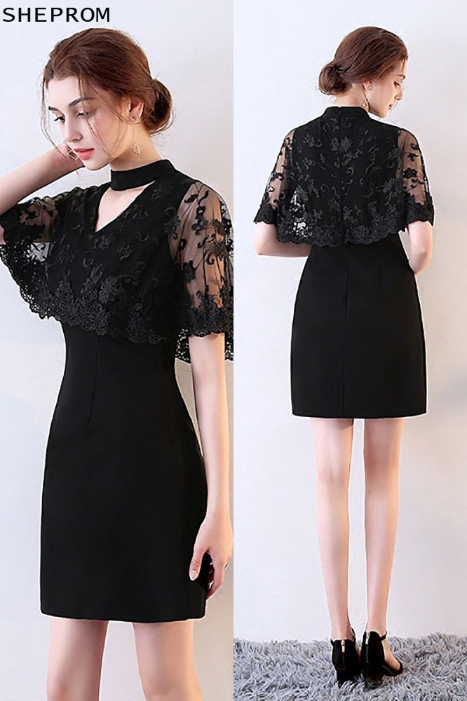 1a588aed07c Sheath Little Black Lace Cocktail Dress with Cape -  71.1  MXL86019 ...