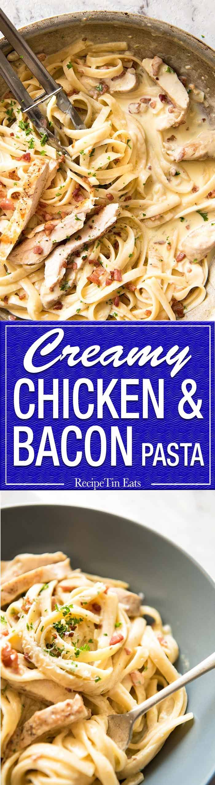 Creamy Chicken and Bacon Pasta - for all those days when nothing but a creamy pasta will do. www.recipetineats.com