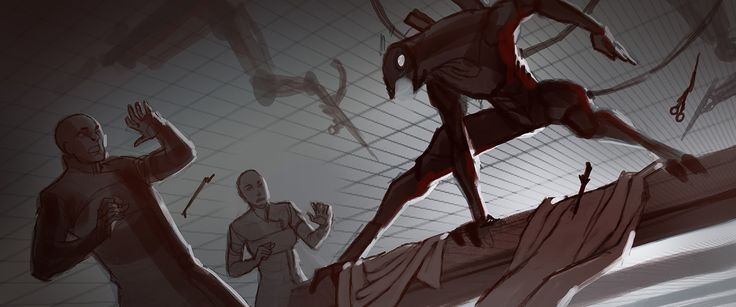 It's interesting to me to see how really great concept artists sometimes start out with simple, barebones sketches like these. And that these unfinished pieces, viewed as thumbnails, already start to look cinematic and great.  Cinematic_GethActivation.jpg (1600×669)
