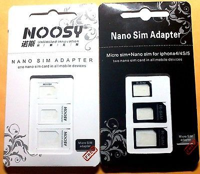 2 Set Black & White Nano SIM & Micro SIM & SIM card adapters for iphone 5 4S