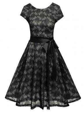 Siyah Kadın Casual Kısa Kollu Vintage Stil Çiçek Dantel O Boyun Parti Elbiseleri