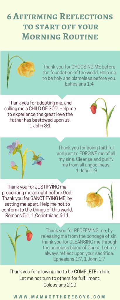 Affirming Reflections to start your Morning Routine| identity in Christ | infographic