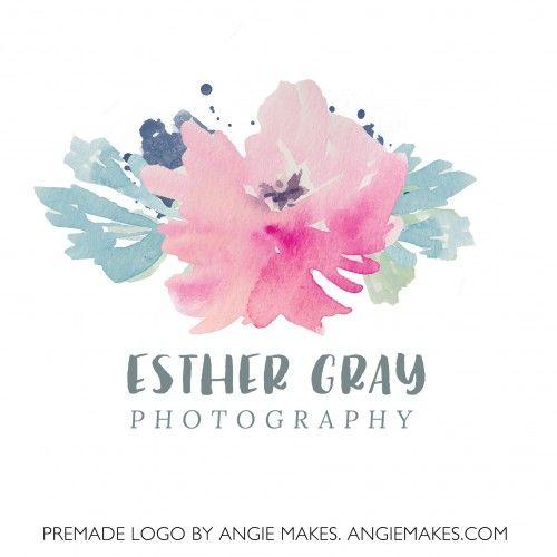 Cute Watercolor Flower Logo Design. Premade Logo Design | angiemakes.com