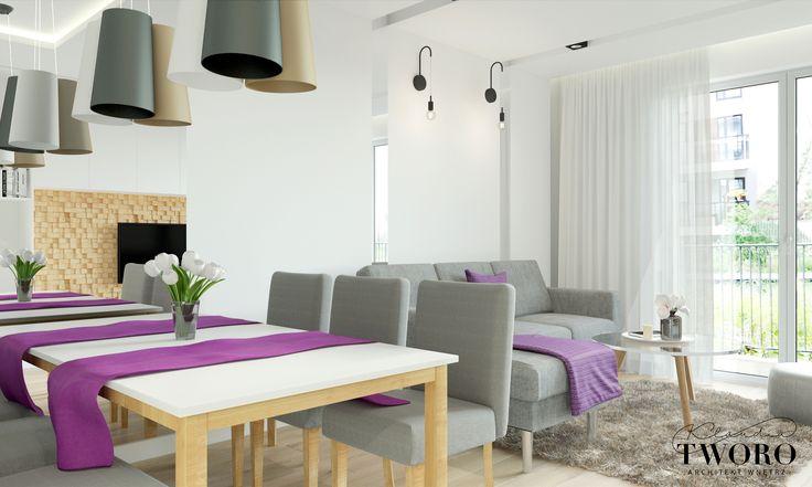 salon fiolet nowoczesny