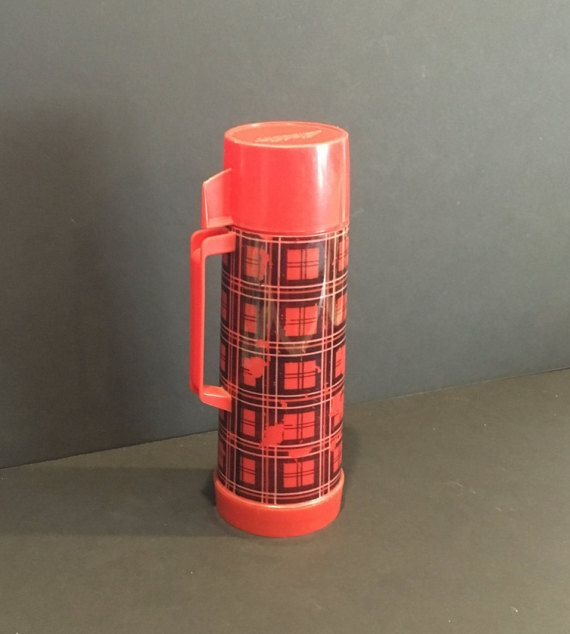 ON SALE Vintage Red and Black Plaid Thermos , Aladdin Thermos , Camping Thermos , Retro Thermos , Pint Thermos , Drink Carrier , Insulated
