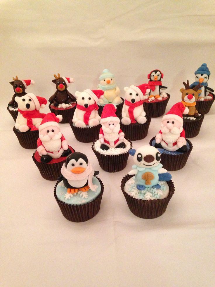 Christmas figurine cupcakes, Santa, Rudolph, penguins, polar bears, snowman, and oshawott x