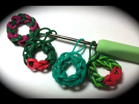 Rubber Band Wreath Charm Without the Rainbow Loom - Uses Just a Crochet Hook! - YouTube