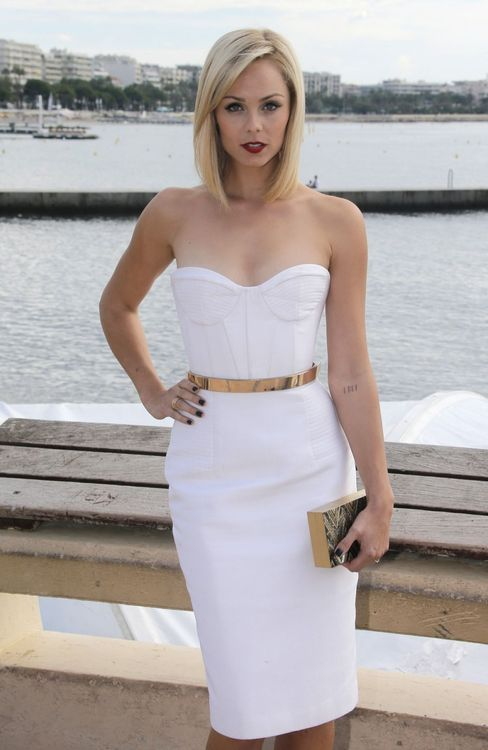 White Strapless Dress With Gold Metal Belt