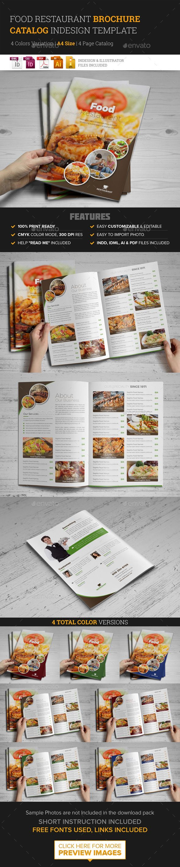 food restaurant bifold brochure indesign template best indesign templates and brochures ideas. Black Bedroom Furniture Sets. Home Design Ideas