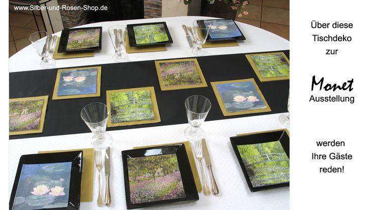 Schicke Tischdeko zum Thema Monet, ganz einfach selbst zu machen.