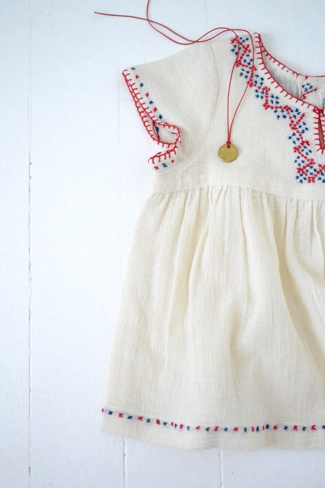 Sweet embroidered boho baby dress and necklace