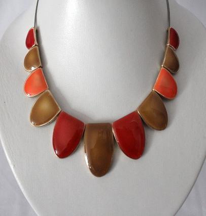 Orange Red & Olive Necklace