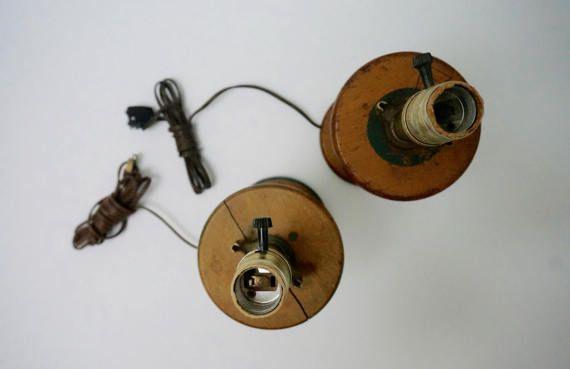 Vintage Wooden Bobbin Lamp Base // set of 2 // Farmhouse