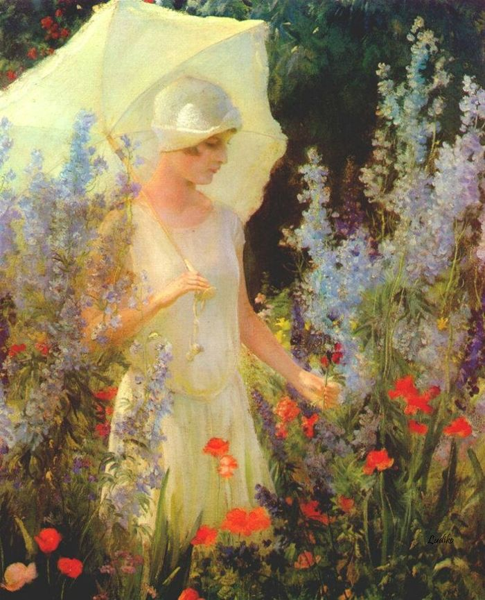 Blue Delphiniums by Charles Courtney Curran (1861 - 1942) Kentucky born American Impressionist painter