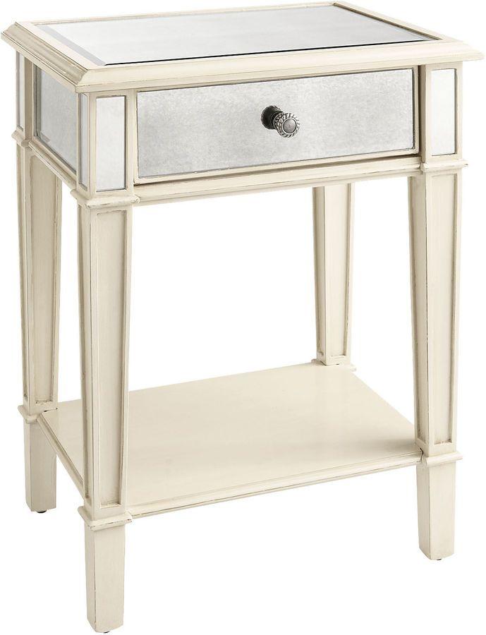 Hayworth Mirrored Antique White Nightstand Mirrored Nightstand White Nightstand Elegant Bedroom
