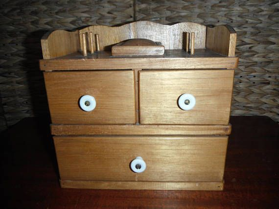 Vintage Wooden Sewing Box with Porcelain White Knobs