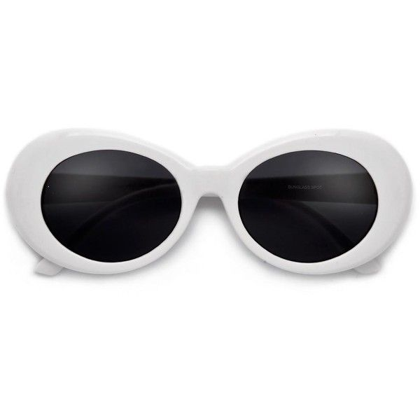 Vintage Inspired Oval Cobain Sunnies (110 CZK) ❤ liked on Polyvore featuring accessories, eyewear, sunglasses, polka dot cat eye sunglasses, round glasses, round aviator sunglasses, round sunglasses and cat eye sunglasses