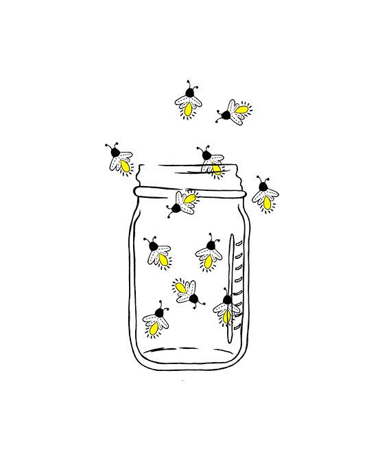 Mason Jar Image Fireflies Lightning bugs Digital by 641Digital