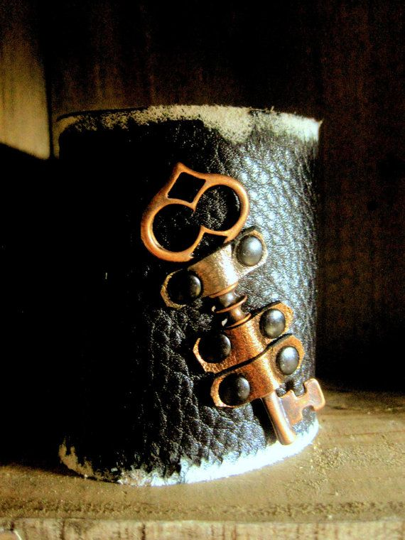 Distressed+Black+Leather+Cuff+Bracelet+and+by+SmitherineDesigns,+$60.00