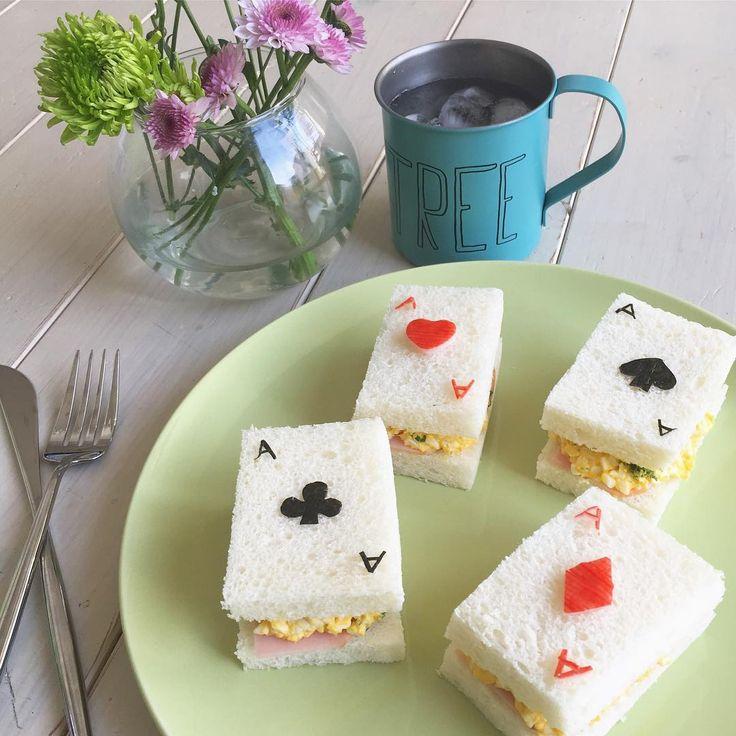 Playing card sandwiches♠️♥️♣️♦️ * トランプサンドイッチ♠️♥️♣️♦️ * たまご🥚&ハムサンドです🍞💕 * 今年度から出勤日が増えた💦コマ数は同じなのでお給料は変わりませんが・・・😅 頑張ろー!!!😗👍🏻 * #cooking #instafood #foodstagram #sandwich #igersjp #playingcards #ikea #todaysspecial #キャラパン #サンドイッチ #料理 #ランチ #お昼ごはん #クッキングラム #デリスタグラマー #春の食卓はじめました #トランプ #おうちごはん #おうちカフェ