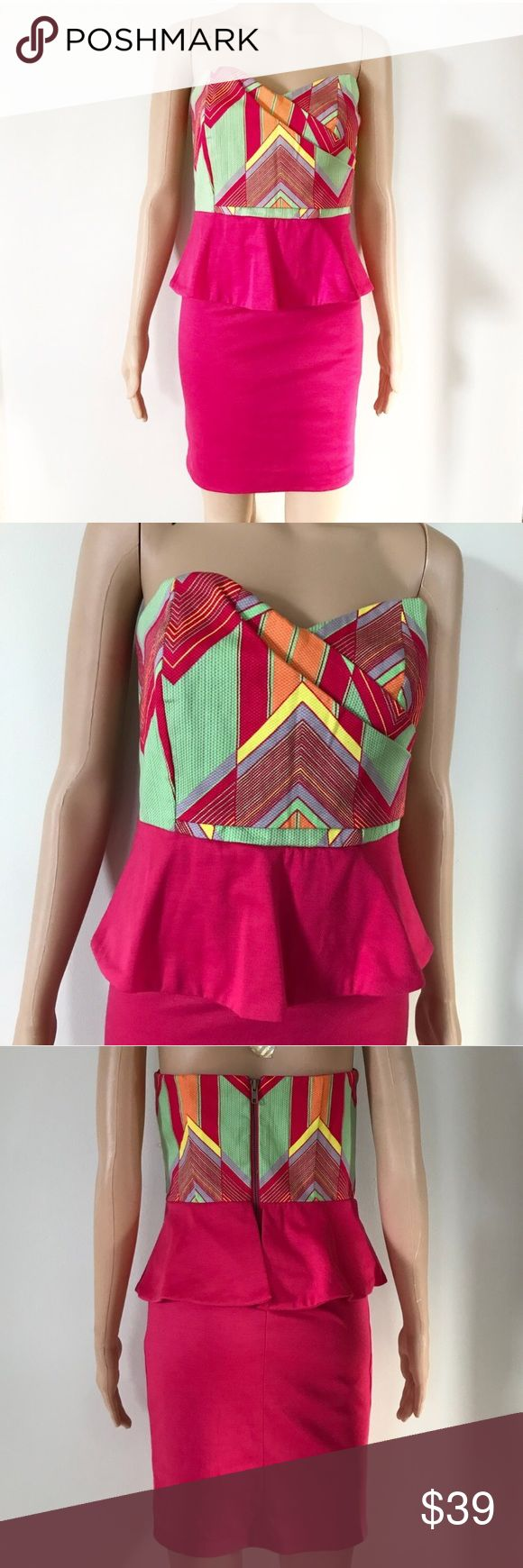 """Judith March Peplum Strapless Zig Zag Dress Judith March Coastal Zig Zag aztec strapless peplum dress. Super cute party dress! • Excellent condition, like new • Asymmetrical sweetheart neckline • Hot pink / fuchsia colors with lime green, orange, and yellow • Zip Up closure  • Cotton spandex blend, skirt has good stretch • Style 728D-1  • Approx. measurements when laid flat: 32"""" bust, 28"""" Waist, 25.5"""" length Judith March Dresses Mini"""