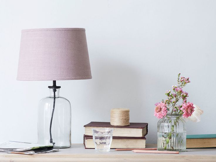 Small Apothecary table lamp with Thistle shade, glass lamp, glass light, glass lighting, glass lamps, pink plain shade, pink shade, pink light shade, pink lamp shade, dusky pink, rose quartz, blush pink, pink, chalky pink, pink interiors, pink light, lamps, desk lamp, side table, side table lamp, bedside table lamp