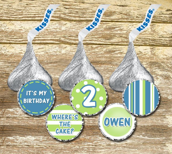 Hershey Kisses Stickers - Birthday Boy, Green and Blue Birthday, Birthday Stickers, Birthday Favors, Birthday Kisses, Personalized Hershey by LittlePrintsOttawa on Etsy