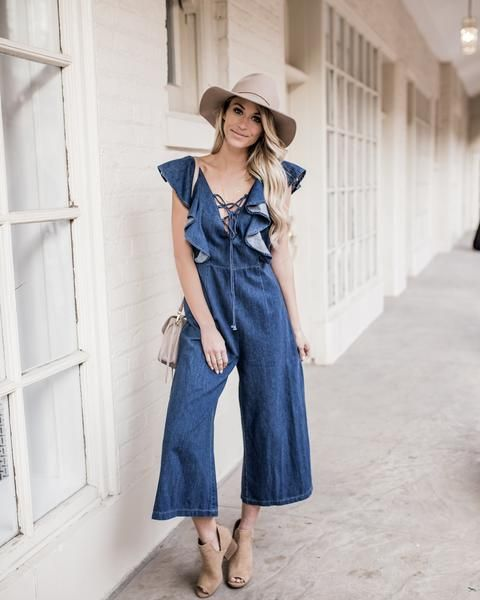 Talia Lace Up Denim Jumpsuit