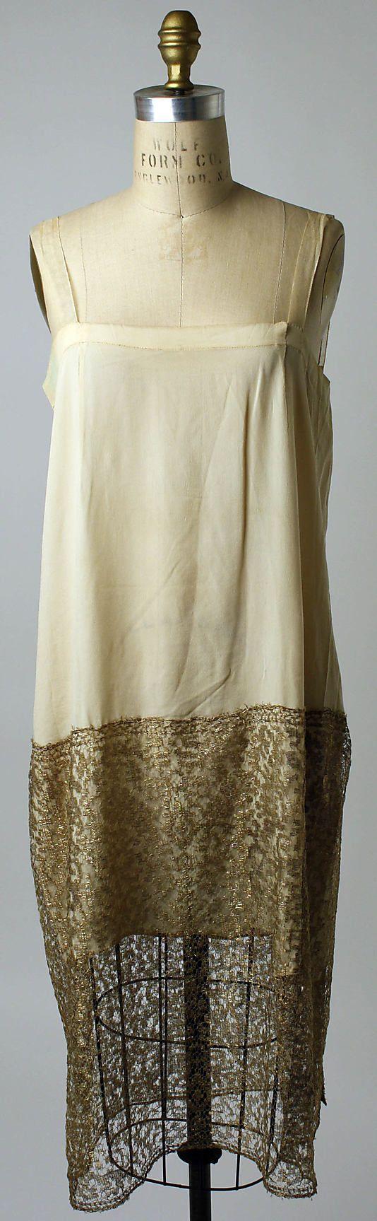 slip, 1926-28, silk, cotton, metallic thread