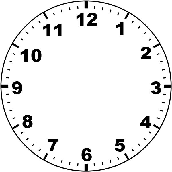 Clever image in printable clock face template