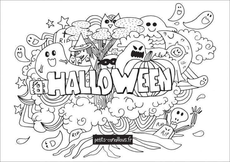 Petits canaillous | Coloriage Halloween façon doodle | http://www.petits-canaillous.fr