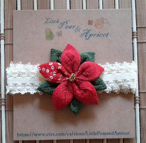 """This listing is Poinsettia headband ❄⛄  This headband has a beautiful handcrafted Poinsettia which is made of high quality Japanese kimono fabrics called """" Chirimen( Crape fabric)"""" which are used to make kimonos or traditional Japanese accessories.  This winter theme Poinsettia headband is a perfect for any ages( babies,toddlers and adults)and would be great accessory for this holiday season ⛄❄🎄  This listing has 2 styles you can choose from : 1) glitter on the center of the flower ( please…"""